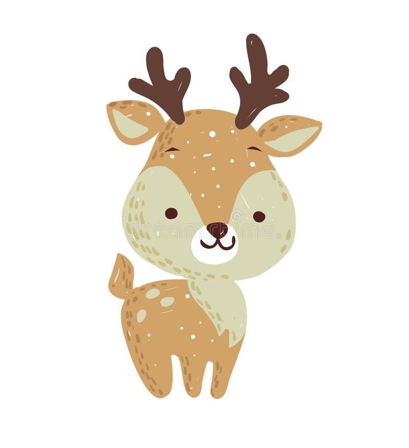 Feiertagsgraphik der frohen Weihnachten Nette Rotwild mit buntem Schal Vektorhand gezeichnete Abbildung lizenzfreie abbildung