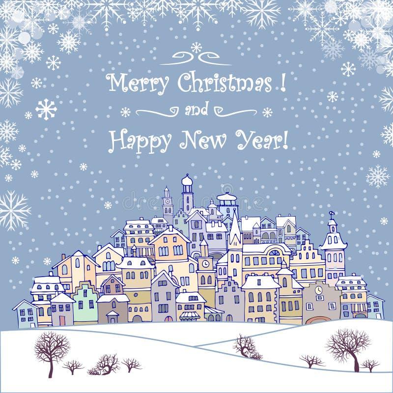 Feiertagshintergrund der frohen Weihnachten und des guten Rutsch ins Neue Jahr mit inscr vektor abbildung