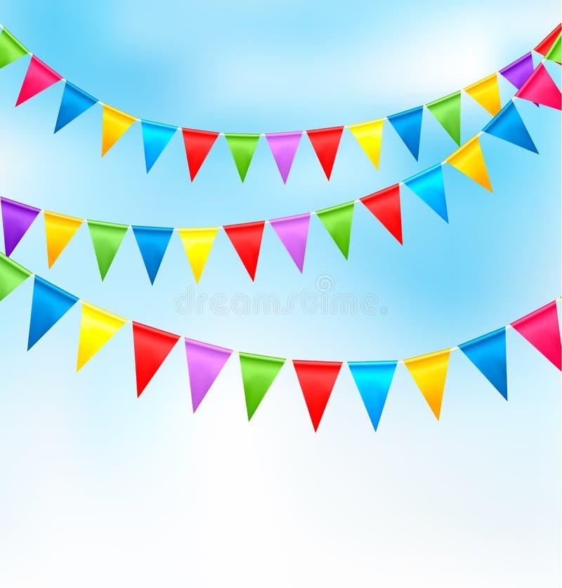 Feiertagshintergrund mit bunten Markierungsfahnen des Geburtstages lizenzfreie abbildung
