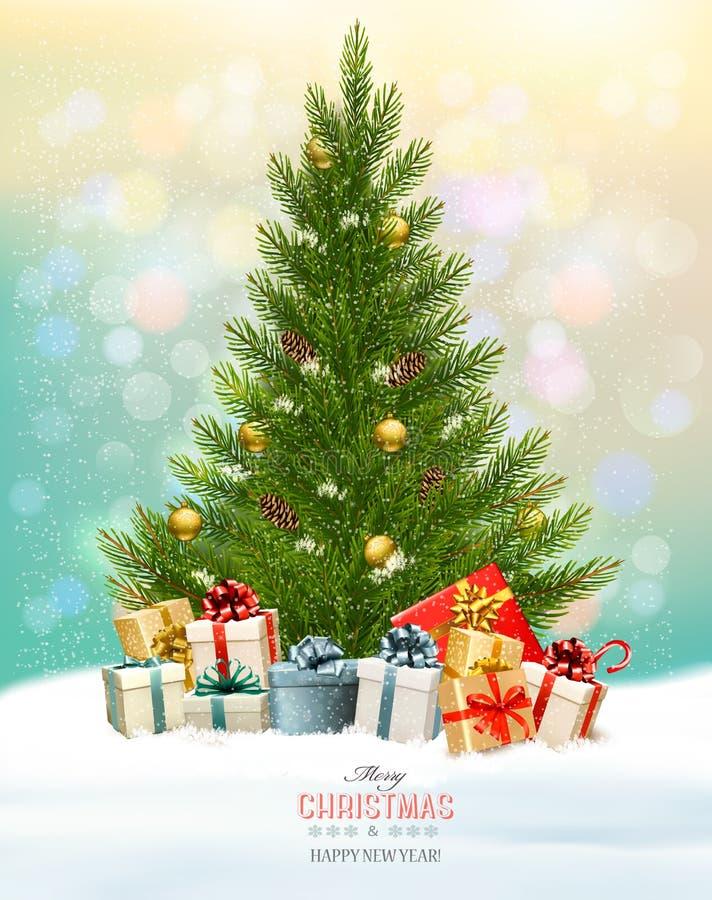 Feiertagshintergrund mit einem Weihnachtsbaum und Geschenken vektor abbildung