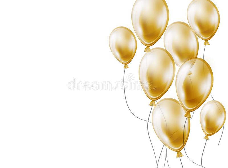Feiertagshintergrund mit Goldfliegen-Luftballonen auf Weiß stock abbildung