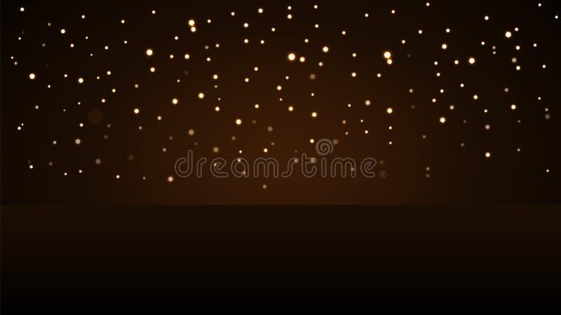 Feiertagshintergrund mit magischem Goldregen Goldene Nr. 2017 Das Weihnachtsdesignlicht, vibrierend, glühen und funkeln, funkeln stock abbildung