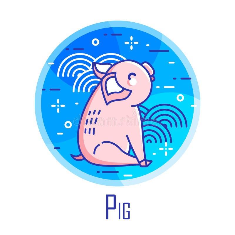 Feiertagsikone mit Schwein und grafische Elemente im blauen Kreis Dünne Linie flaches Design stock abbildung