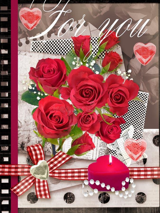 Feiertagskarte mit Blumenstrauß von schönen Rosen vektor abbildung