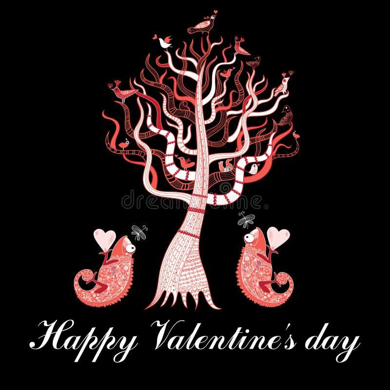 Feiertagskarte mit einem Baum und Liebeschamäleonen lizenzfreie abbildung