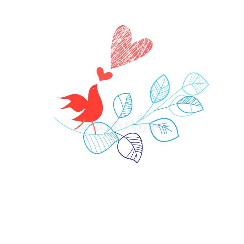 Feiertagskarte mit einem Vogel in der Liebe lizenzfreie abbildung