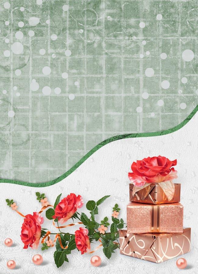 Feiertagskarte mit Geschenkboxen, Perlen und Blumenstrauß von schönen roten Rosen auf Grünbuchhintergrund lizenzfreie abbildung