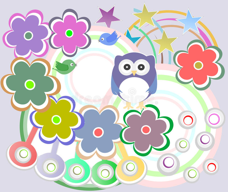 Feiertagskarte mit netter Eule und Blumen lizenzfreie abbildung