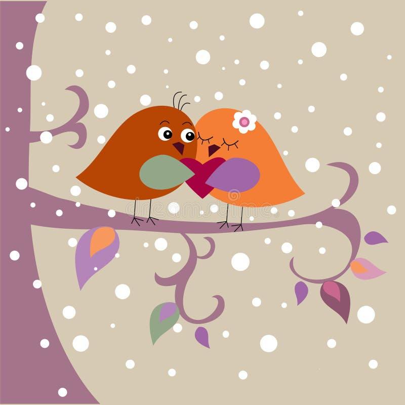 Feiertagskarte mit Vögeln stock abbildung