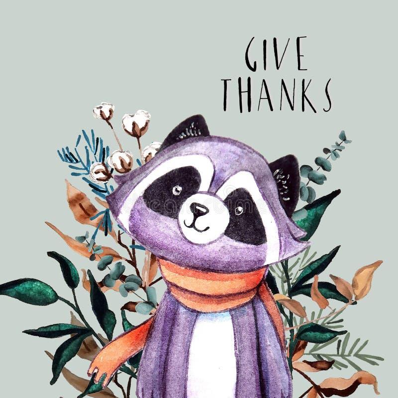 Feiertagskarte mit violettem Waschbären, Kranz vom Herbstlaub, Beeren und Text ` geben Dank ` für Danksagungstag stock abbildung