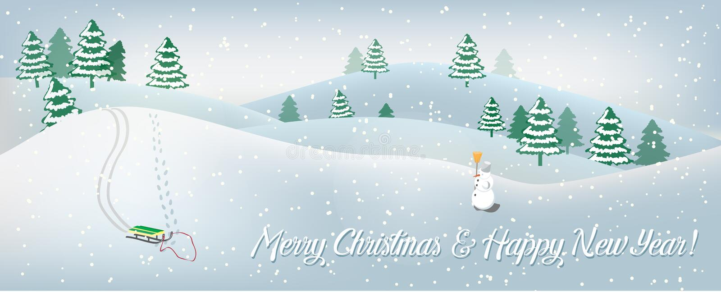 Feiertagskarte mit Winterlandschaft stockbilder