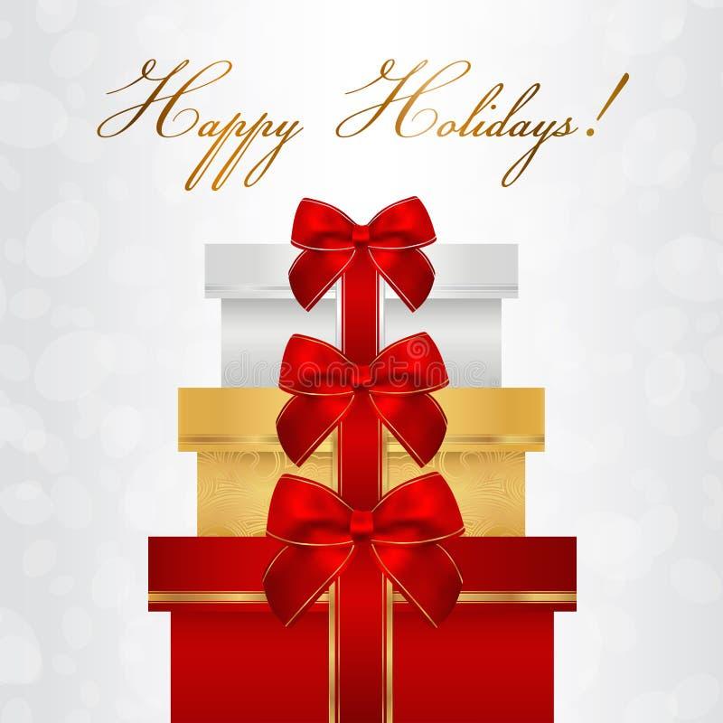 Feiertagskarte, Weihnachtskarte, Glückwunschkarte, Schablone des Gutscheins (Grußkarte) mit großem Stapel der Kästen (Geschenke), stock abbildung