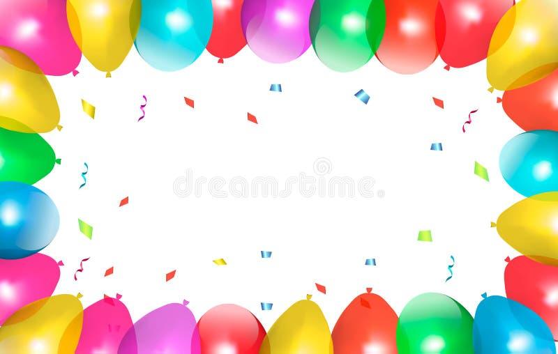 Feiertagsrahmen mit bunten Ballonen. vektor abbildung