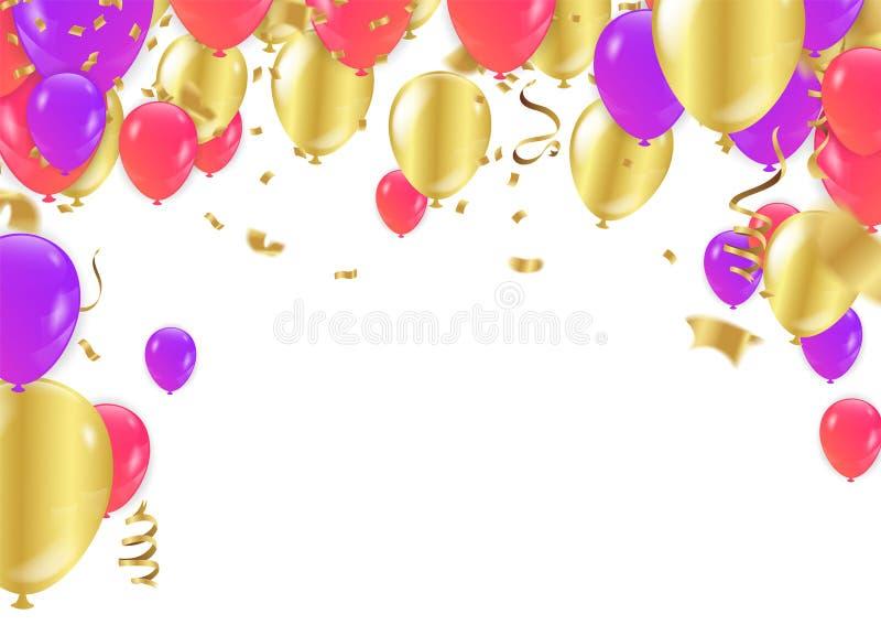 Feiertagsrahmen oder -hintergrund mit buntem Ballon, Geschenk, confett vektor abbildung
