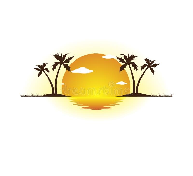 Feiertagssommerstrandkokosnuss-Palme-Vektorlogoentwurf, Hoteltourismus Sonnenaufgang, Ufer vektor abbildung
