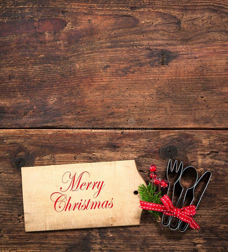 Feiertagsvektorabbildung mit Gabel, Orange und Anis lizenzfreies stockbild