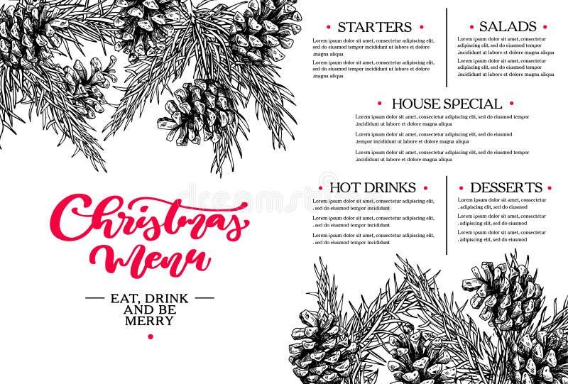 Feiertagsvektorabbildung mit Gabel, Orange und Anis Restaurant- und Caféschablone Vector Hand gezeichnete Illustration mit Tannen stock abbildung