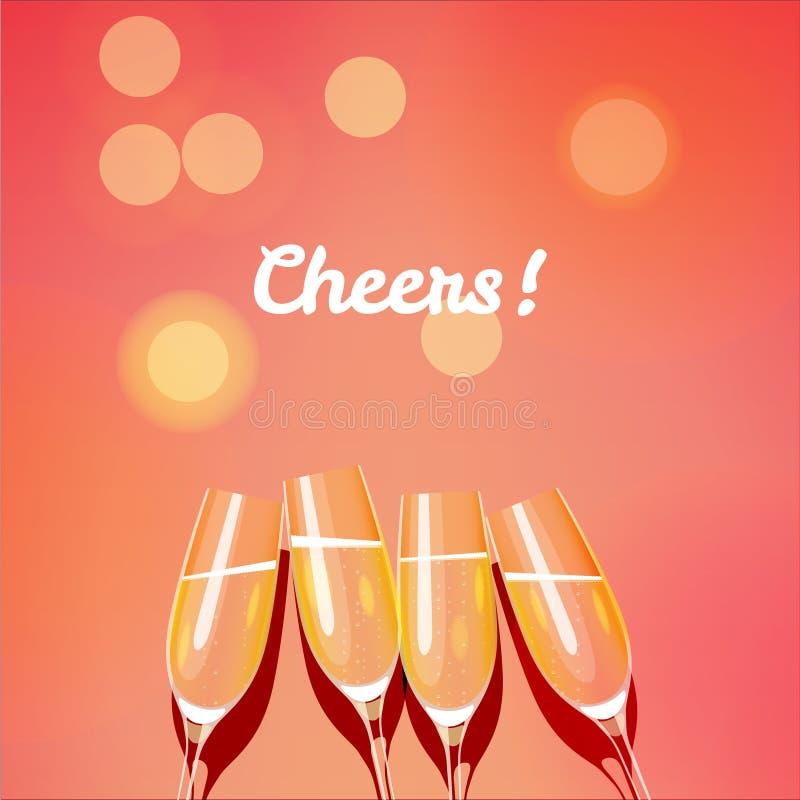 Feiertagsvektorschablone mit Gruppe Champagnergläsern, die a machen lizenzfreie abbildung