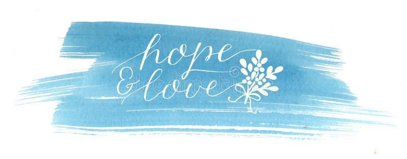 Feiertagsweihnachtsaufschrifthoffnung und -liebe, machten Handbeschriftung auf blauem Aquarellhintergrund vektor abbildung