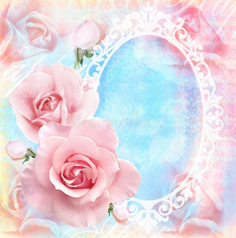 Feiertagszarte Blumenkarte mit blühendem Rosen-, Spiegel- und Textfeld Hochzeitsthema vektor abbildung