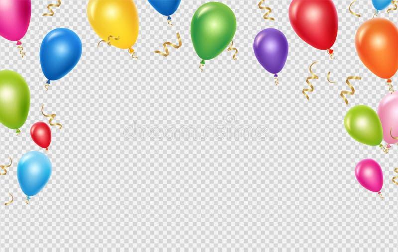 Feiervektor-Hintergrundschablone Realistische Ballone und Bandfahnenentwurf vektor abbildung