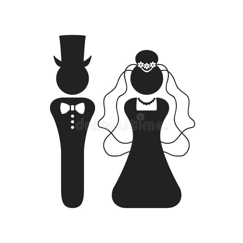 Feierzeichen der schwarzen Schattenbild Braut- und Bräutigamhochzeit und Symbolikonengrußkarte lizenzfreie abbildung