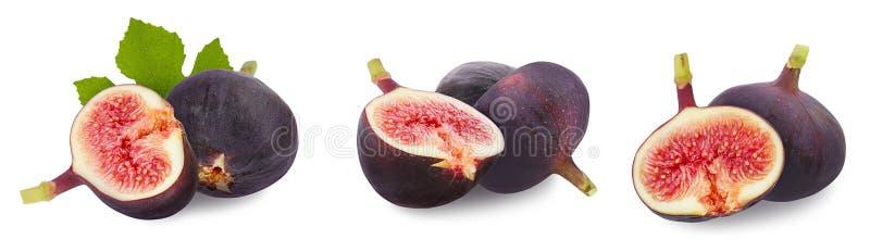 Feigen getrennt Ganze frische reife Beere oder Frucht, halbe Feige und grünes Blatt eingestellt lokalisiert auf weißem Hintergrun stockfotografie