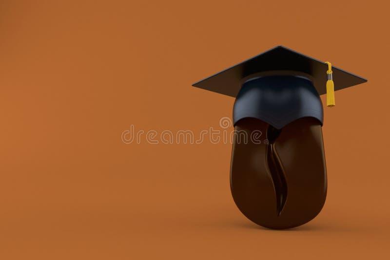 Feijão de café com barrete ilustração stock