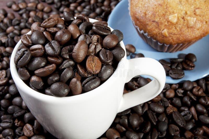 Feijão de café em um copo imagens de stock royalty free