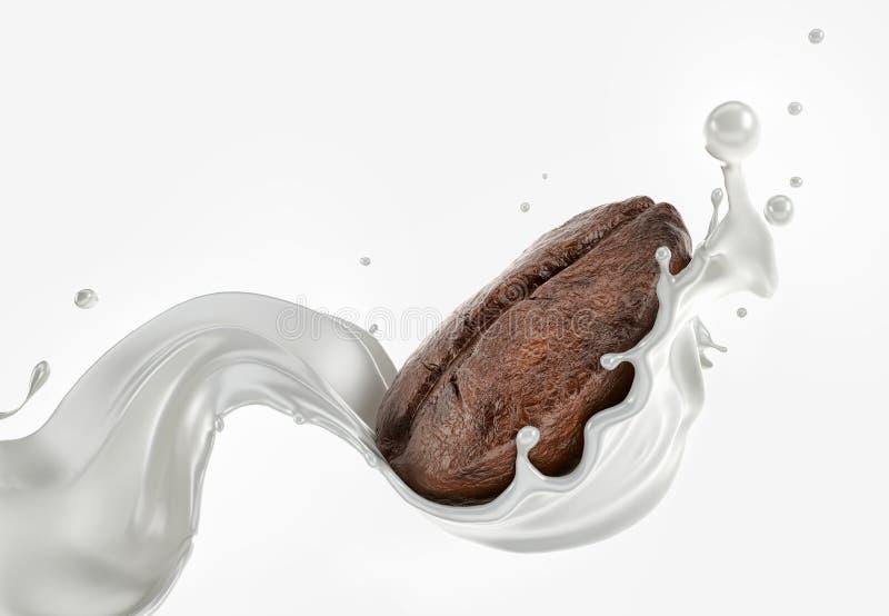 Feijão de café que espirra com uma onda do córrego do leite no fundo branco ilustração do vetor