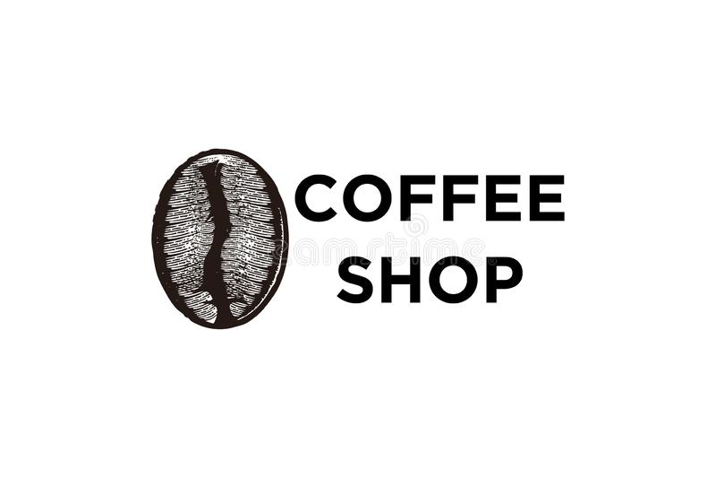 feijão de café tirado mão, inspiração dos projetos do logotipo da cafetaria isolado no fundo branco ilustração stock