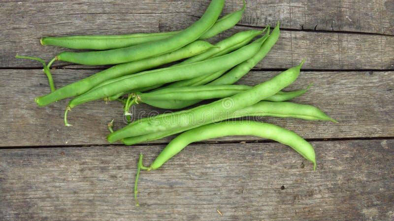 Feijão-vagens verdes frescas do haricot/rim no fundo de madeira rústico foto de stock royalty free