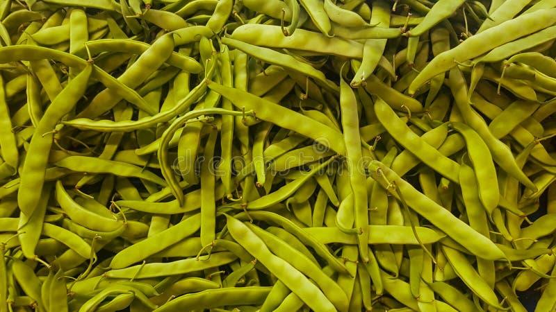Feijão verde verde fresco na loja vegetal, pepperss do verde do grupo fotos de stock