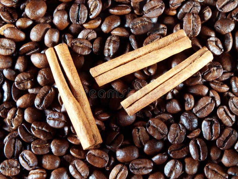 Feijões de café com as varas de canela no branco fotografia de stock royalty free