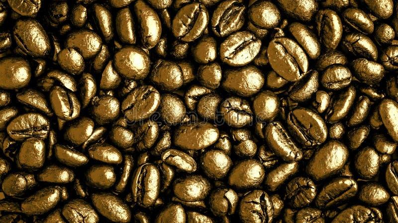 Feijões de café do ouro imagens de stock royalty free