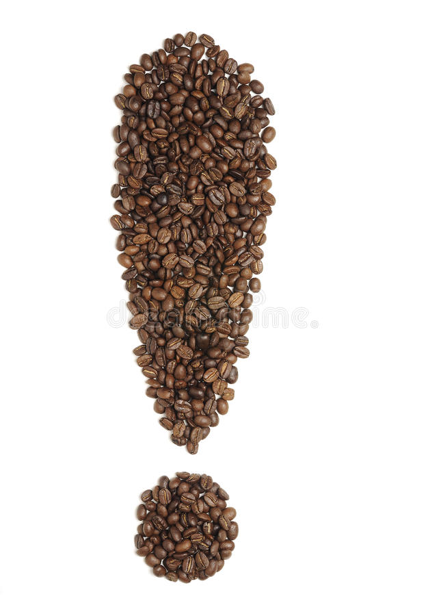 Feijões de café do ponto de exclamação imagem de stock royalty free