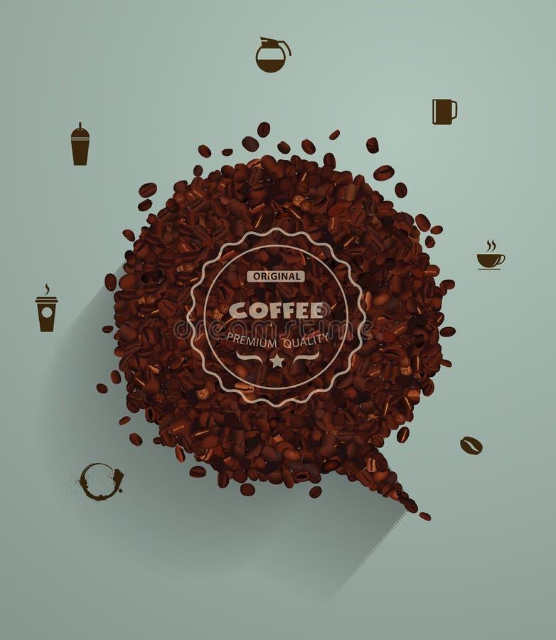 Feijões de café do vetor com bolhas vazias do discurso ilustração do vetor