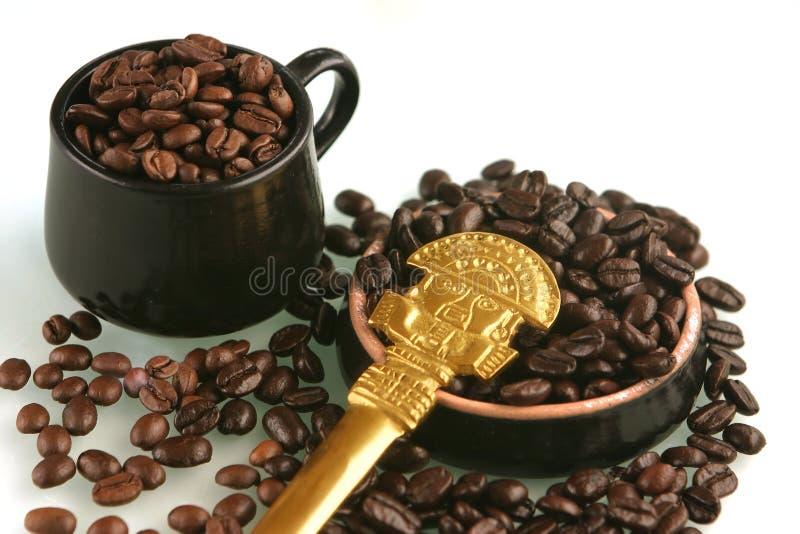 Feijões de café em um copo foto de stock