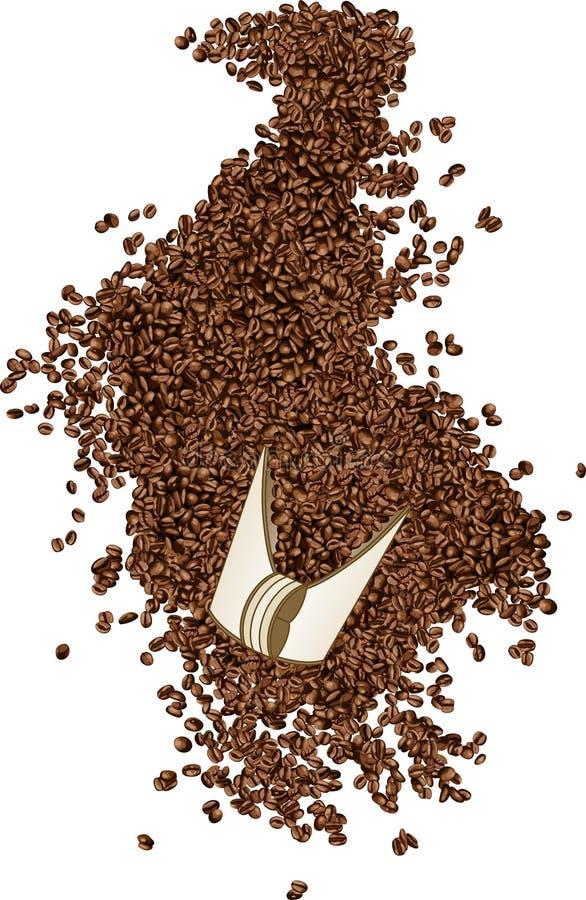 Feijões de café em uma pá ilustração do vetor