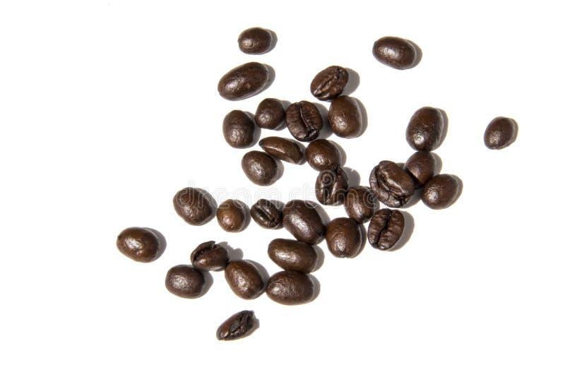 Feijões de café na foto branca do fundo Pictu bonito foto de stock