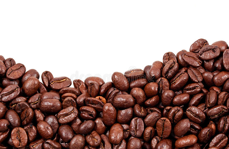 Feijões de café Roasted com espaço da cópia na parte superior foto de stock