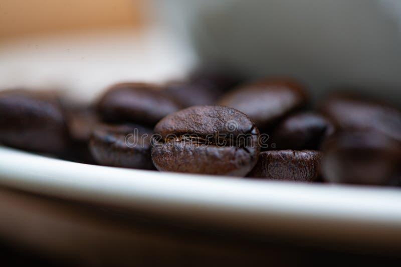 Feijões de café Roasted com o copo branco na tabela de madeira branca Café fotografia de stock