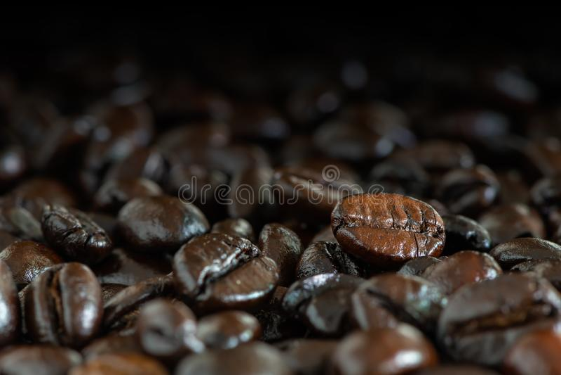 Feijões de café roasted marrons escuros sob a luz natural para o fundo fotografia de stock royalty free