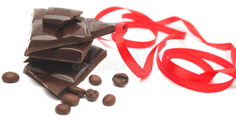 Feijões do chocolate e de café. imagem de stock royalty free