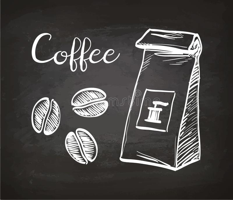 Feijões do pacote e de café ilustração do vetor