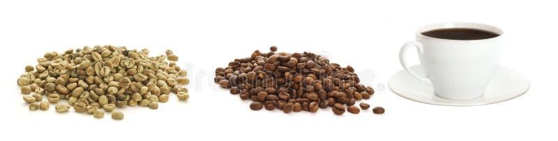 Feijões e chávena de café de café foto de stock royalty free