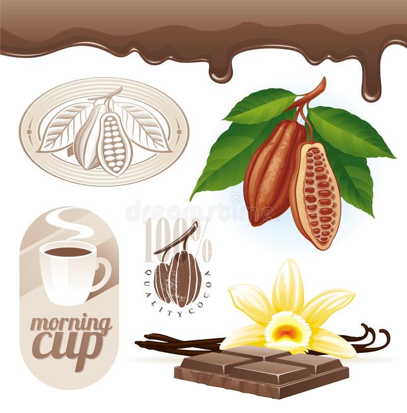 Feijões e chocolate de cacau ilustração royalty free