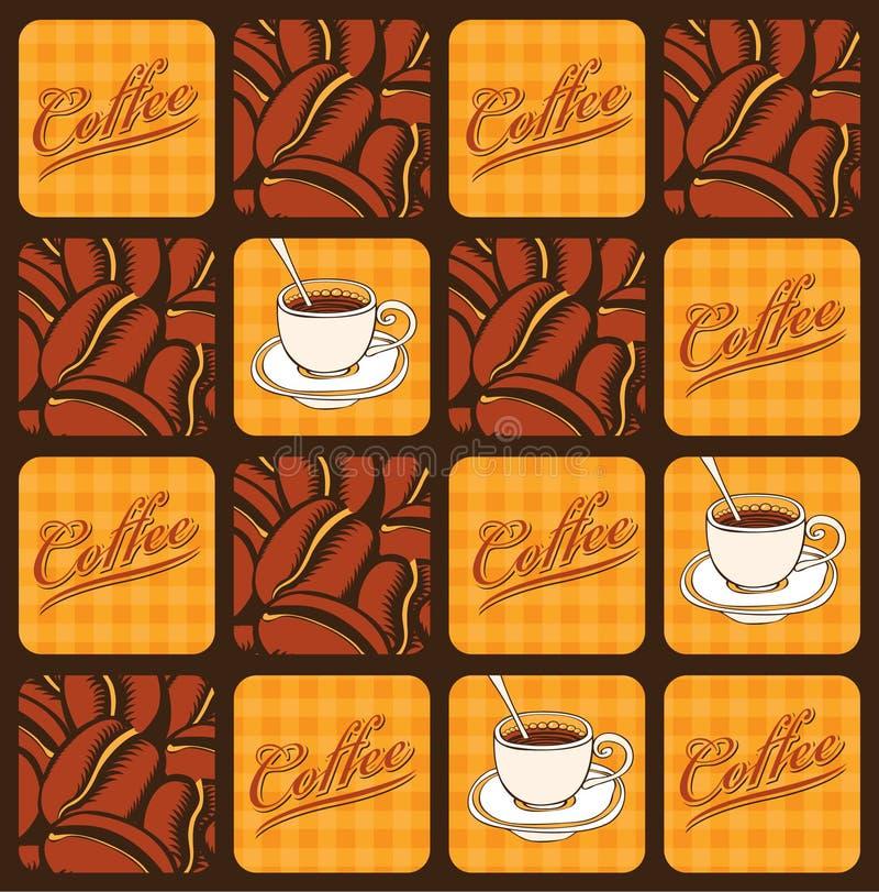 Feijões e copos de café ilustração royalty free