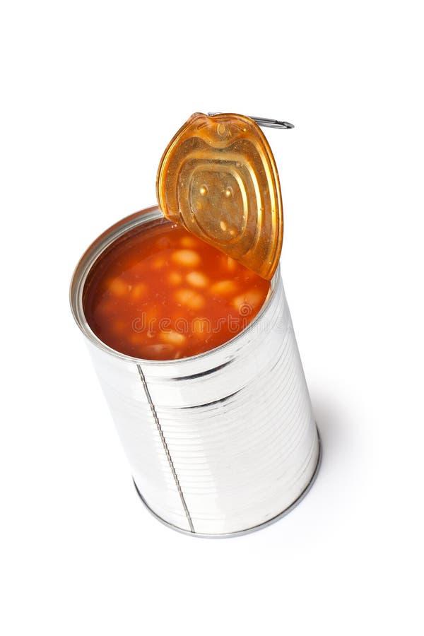 Feijões na lata de estanho fotografia de stock