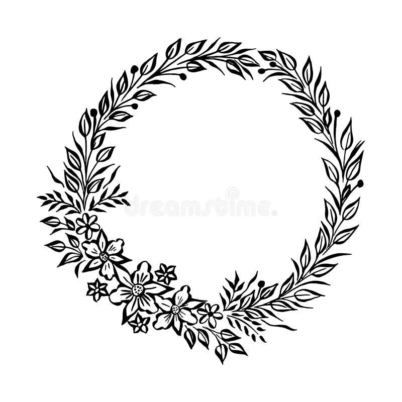 Feiner runder mit Blumenrahmen des Vektors Dekoratives Element für Einladungen und Karten Grenzelement Vektortintenillustration stock abbildung
